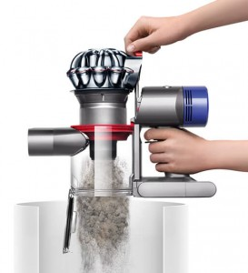 The Dyson V8 features a new hygienic dirt ejector