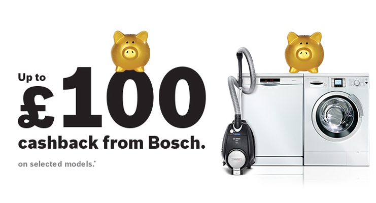 Get up to £100 when you Buy Selected Bosch Appliances