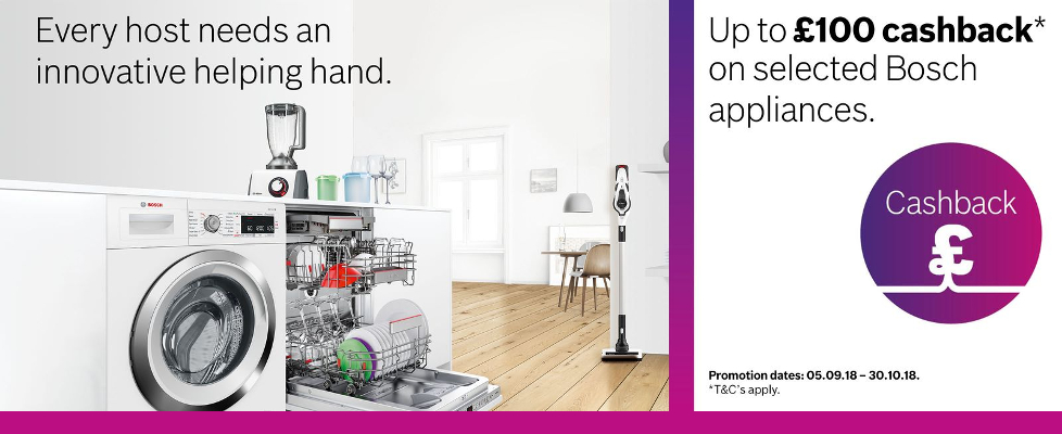 Up to £100 Cashback on Selected Bosch Appliances