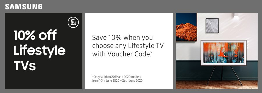 10% off Samsung Lifestyle TVs Discount Promotion