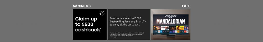 Claim up to £500 cashback on Samsung Televisions